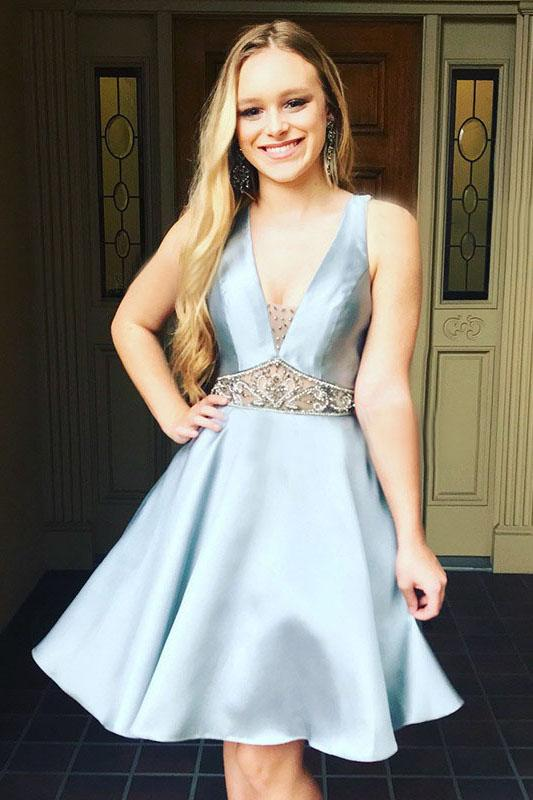 A-Line V-neck Light Blue Satin Homecoming Dress with Beading PFH0166