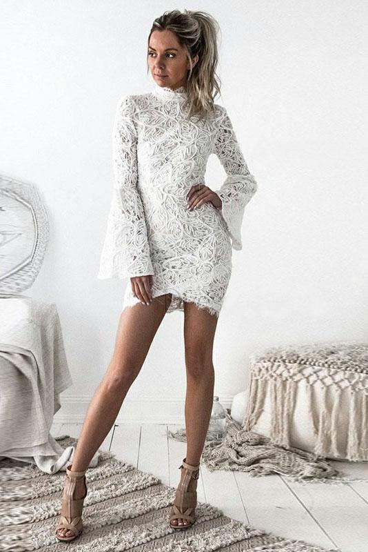 Sheath High Neck Flare Sleeves White Lace Short Homecoming Dress PFH0168