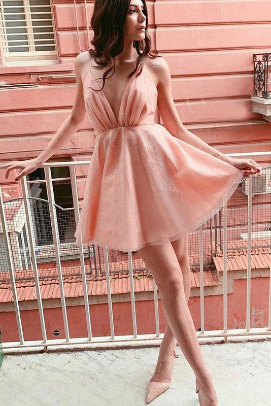 A Line Deep V-neck Pink Short Homecoming Dress With Sequins PFH0173