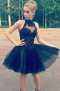 Cheap Lace Tulle High Neck Black Homecoming Dress, Short Prom Dresses