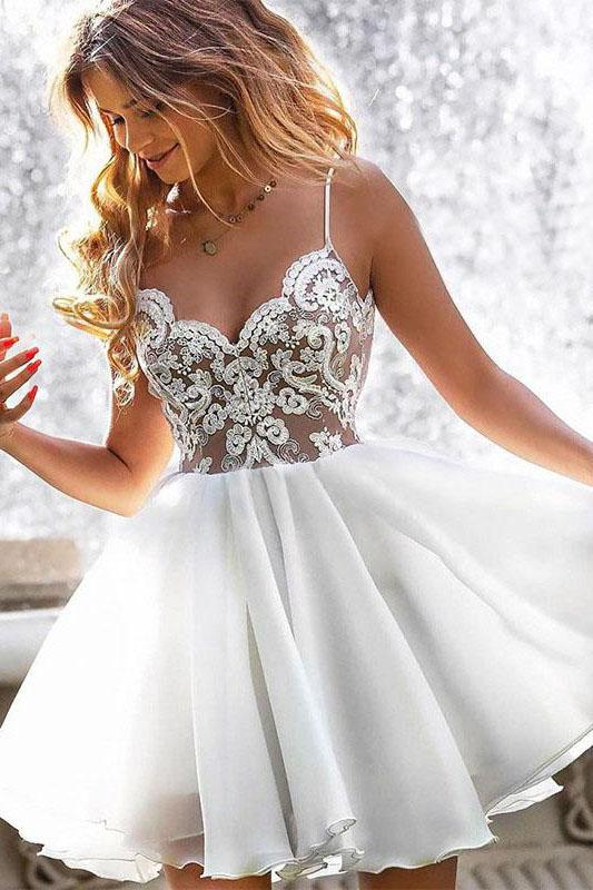 A Line Spaghetti Traps White Homecoming Dress With Appliques PFH0181