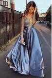 Sexy Blue V-Neck Beaded A Line Prom Dress Formal Evening Dress PFP0050