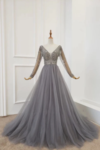 A Line Long Sleeves V Neck Grey Beading Prom Dresses PFP1764