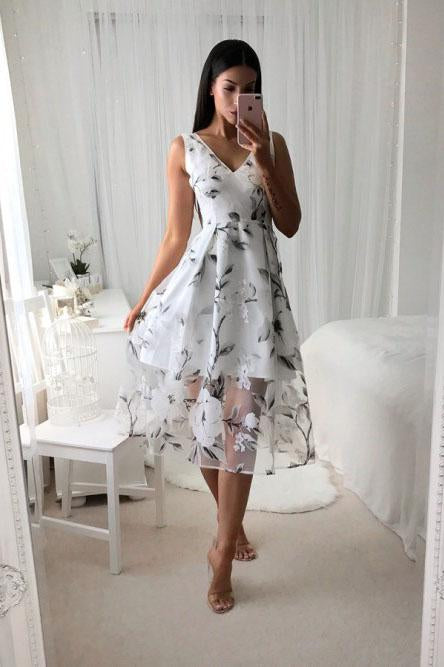 A-Line V-Neck Printed Tea Length Prom Dress with Pleats PFH0186