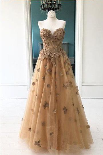 Elegant A-Line Sweetheart Appliqued Brown Prom Dress PFP1463