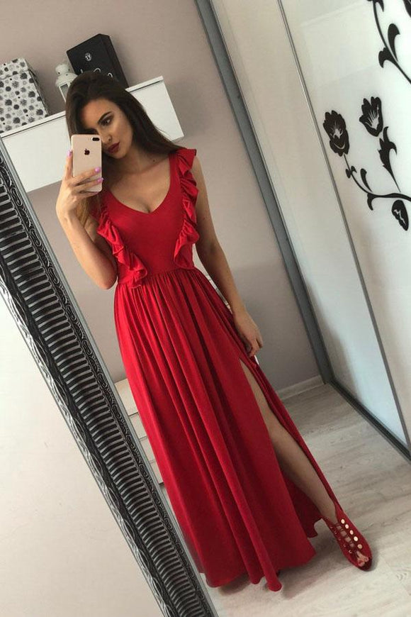 A-Line V-Neck Floor-Length Red Prom Dress with Split Ruffles PFP1475