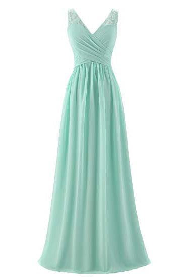 Mint Green V Neck Long Simple Pleated Bridesmaid Dress with Lace PFP1478