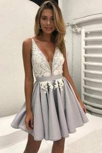V Neck Short A Line Prom Dress,Sleeveless Lace Appliques Cheap Homecoming Dress PFH0004