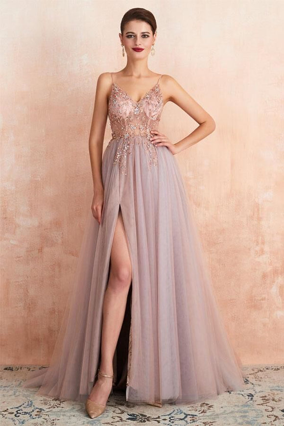 Promfast Straps A-Line Beading Rose Split Tulle Prom Dress with Crystal PFP1805