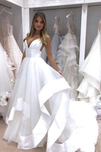 A-Line Spaghetti Straps Sweep Train Tulle White Wedding Dress Bridal Gown PFW0368