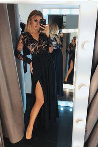 A-Line V-Neck Long Sleeves Black Split Evening Prom Dress with Lace PFP0054