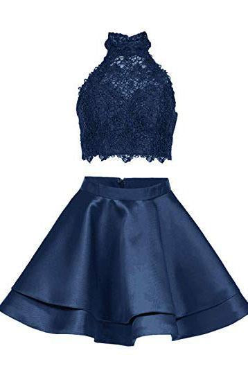 Two Piece Dark Blue Short Homecoming Dress with Lace, A Line Satin Graduation Dress PFH0187