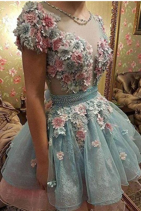 A Line Short Sleeves Homecoming Dresses, Princess Short Prom Dress With Flowers PFH0190