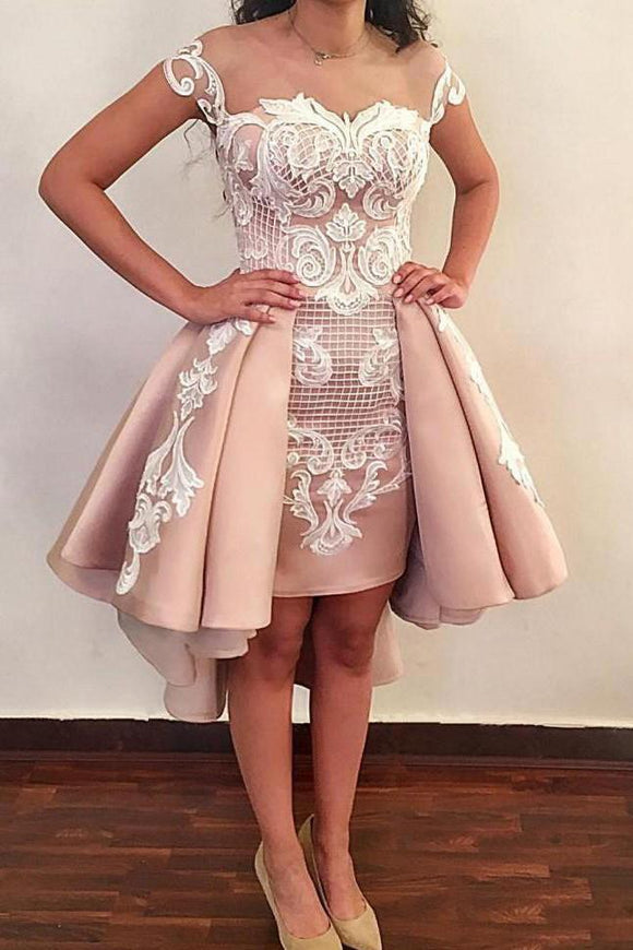Lace Appliques Homecoming Dresses, Hi-Lo Short Prom Dress PFH0191