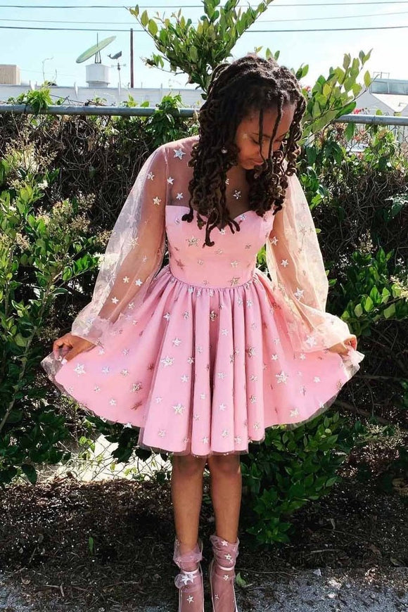Pink Stars Long Sleeves Tulle Short Homecoming Dresses PFH0194