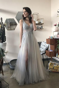 A-Line V Neck Long Grey Tulle Split Prom Party Dress with Sequins PFP0055