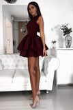 Cute Burgundy High Neck Short Homecoming Dresses With Tiered Skirt PFH0198