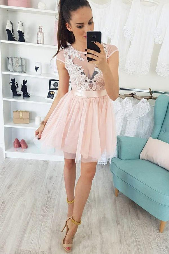 Appliques Cap Sleeve Pearl Pink Tulle Short Homecoming Dress PFH0200