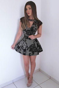 Jewel Short Mini Dress Cap Sleeve Black Lace Appliques Party Dress PFH0201