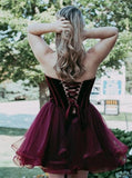Burgundy Short Tulle Sweetheart A Line Mini Cocktail Party Dress,Cheap Homecoming Dresses PFH0138