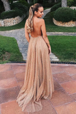 Promfast Sparkle Backless Plunging Neckline Sequin Long Prom Evening Dress PFP1918