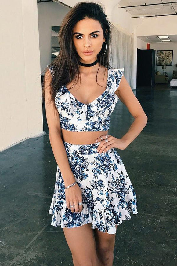 Floral Print Short Prom Dresses Two Piece V-neck Mini Homecoming Dress PFH0202