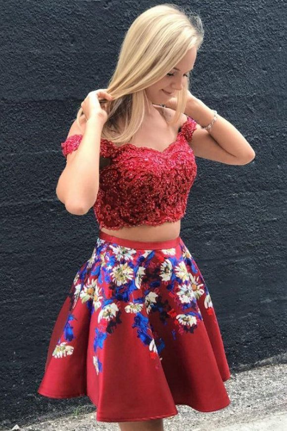 A Line Two Piece Red Off Shoulder Lace Applique Short Homecoming Dresses PFH0204