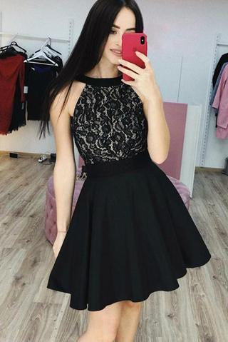Black Lace Cheap Homecoming Dresses, A Line Sleeveless Short Prom Dress PFH0206