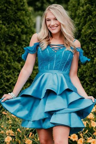 A Line Off the Shoulder Satin Tired Mini Homecoming Dresses,Short Prom Dresses PFH0210