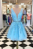 Blue Appliques Beaded Sleeveless A Line Tulle Short Homecoming Dresses PFH0211
