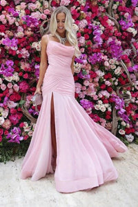 Mermaid Spaghetti Straps Floor-Length Pink Prom Dress with Split Ruched PFP1486