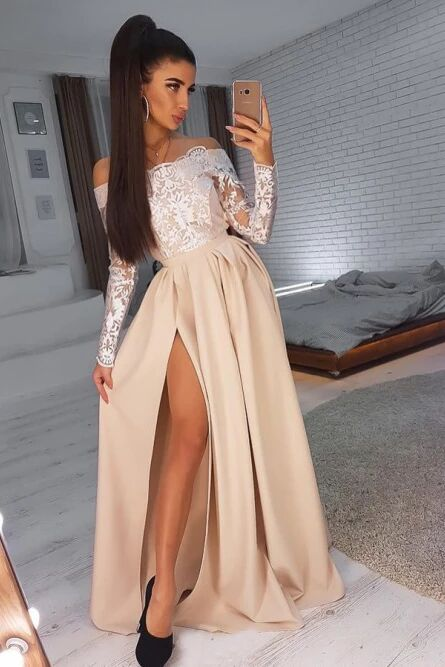 A-Line Off-the-Shoulder Long Sleeves Prom Dress with Lace Appliques Split PFP1489