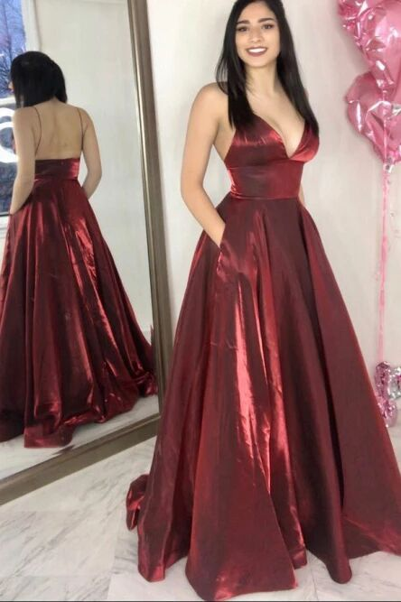 Simple A-Line Spaghetti Straps Floor-Length Burgundy Prom Dress with Pockets PFP1494