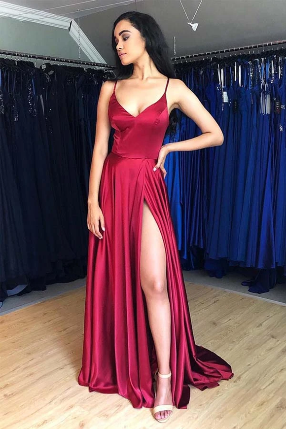 Promfast Hot Sale A-Line Satin Simple Prom Dresses Formal Dress With Split PFP1919