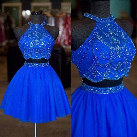 Halter Two Pieces Beaded Royal Blue A-line Tulle Mini Short Homecoming Dresses