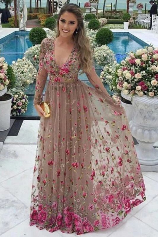 A-Line V-Neck Long Sleeves Tulle Prom Dresses with Floral Appliques PFP1506