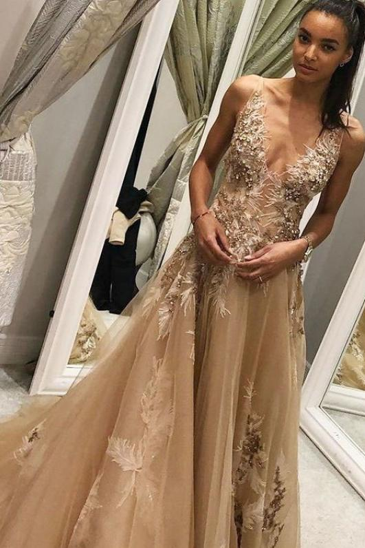 A Line Tulle Long Appliques Deep V Neck Prom Dress With Beading PFP0059