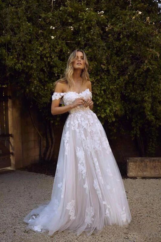 Simple A-Line Off the Shoulder White Beach Wedding Dresses PFW0372