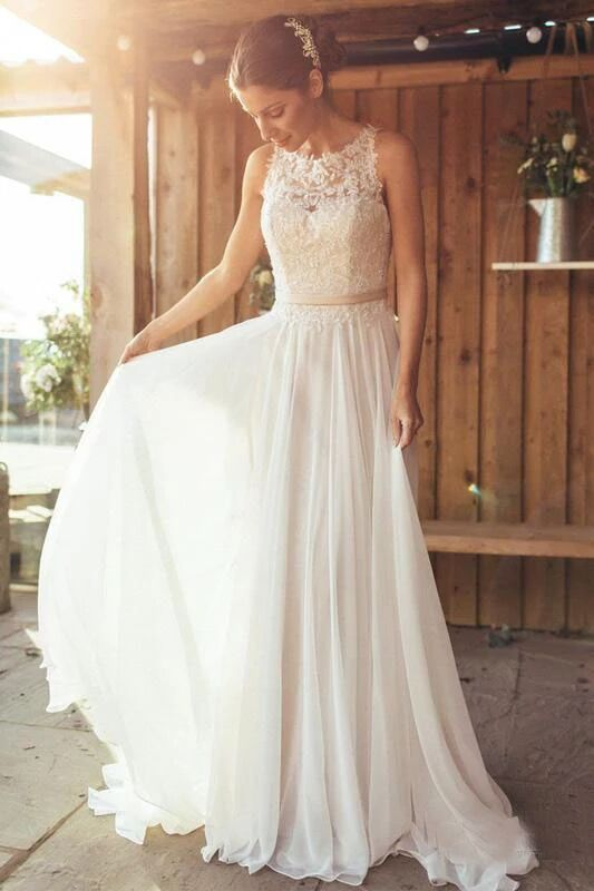 Elegant A-Line Round Neck Chiffon with Lace,Beach Boho Wedding Dresses PFW0373