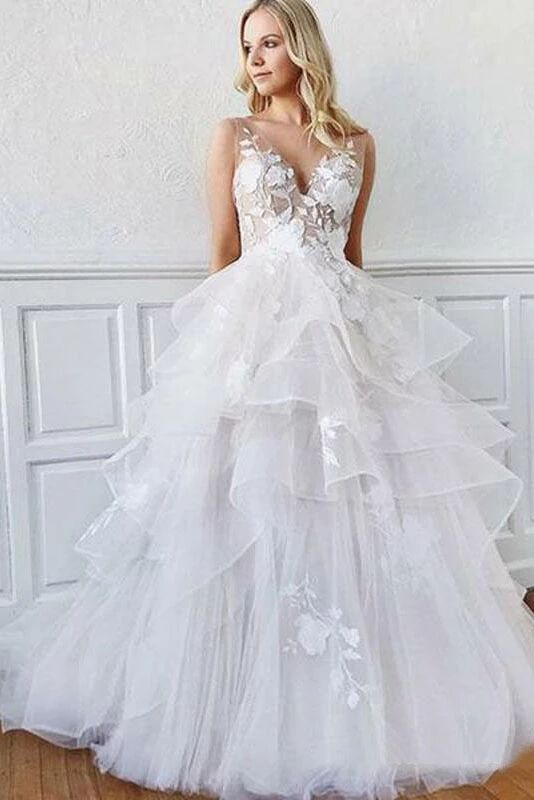 Romantic A-Line V Neck Tiered Appliques Tulle Long Wedding Dresses PFW0374