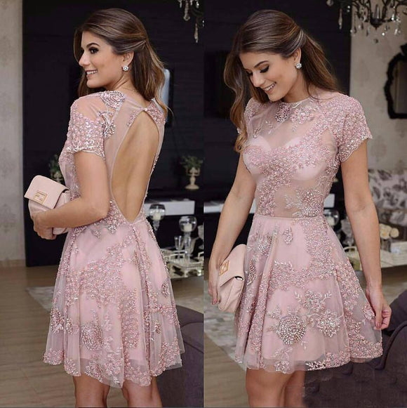 Short Lace Pink Beads A-Line Knee Length Backless Homecoming Dresses