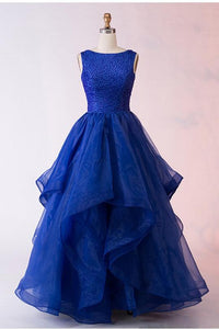 Fashion A-Line Bateau Long Royal Blue Organza Prom Dress with Beading PFP0061