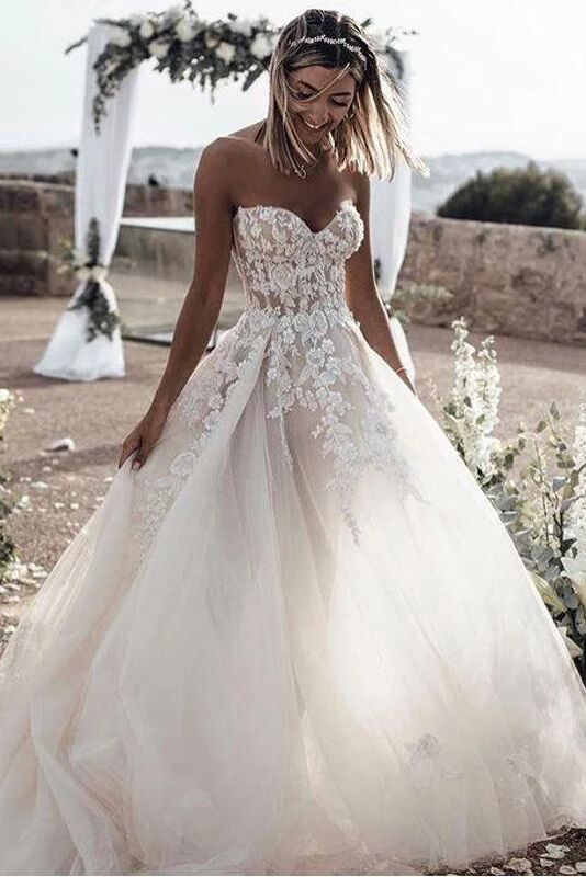 A Line Sweetheart Long Cheap Tulle Wedding Dresses with Lace Appliques PFW0382