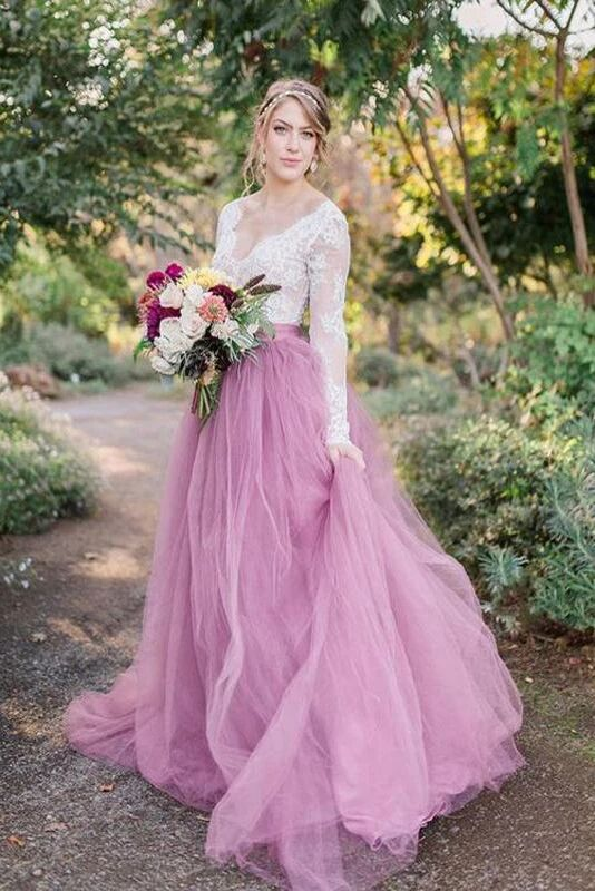 A-Line V-Neck Long Sleeves Pink Tulle Wedding Dresses with Lace Appliques PFW0383