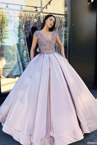 Charming Ball Gown V Neck Lavender Long Prom Dresses with Beading PFP0063