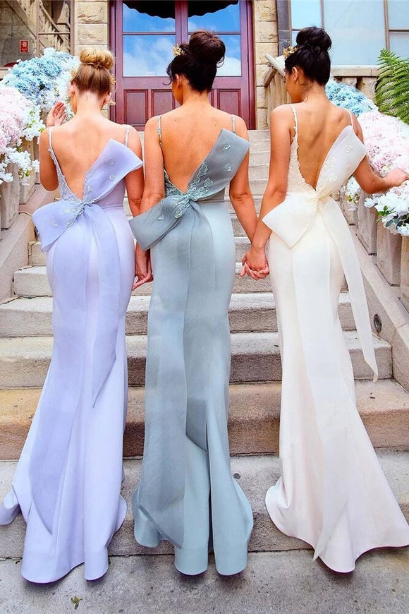 Appliqued Straps Mermaid Bridesmaid Dress with Bow PFB0103