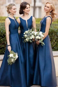 Simple A-Line Satin Navy Blue Bridesmaid Dress with Illusion V Inset PFB0105