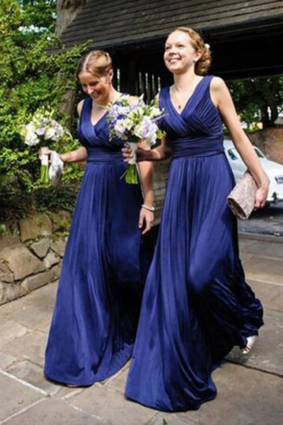 V-Neck Long Royal Blue A Line Pleats Bridesmaid Dress PFB0108