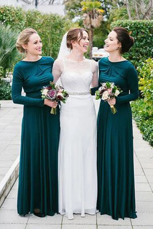 New Arrival Jewel Neck Long Sleeves Dark Green Bridesmaid Dress PFB0109