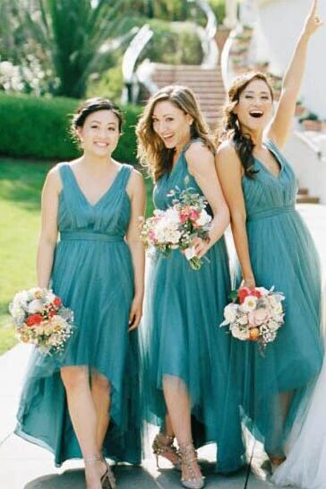 High-Low Teal V Neck A Line Bridesmaid Dress with Pleats PFB0110